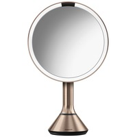 Fragrance Simplehuman Sensor Mirrors 5 x Magnification 20cm Sensor Mirror with Touch Control Brightness: Round Rose Gold Stainless Steel Rechargeable