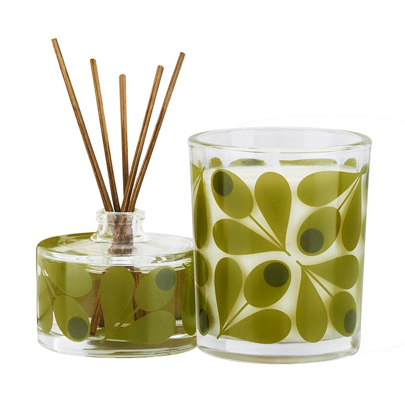 Orla Kiely Olive Acorn Cup Mini Candle and Diffuser Set
