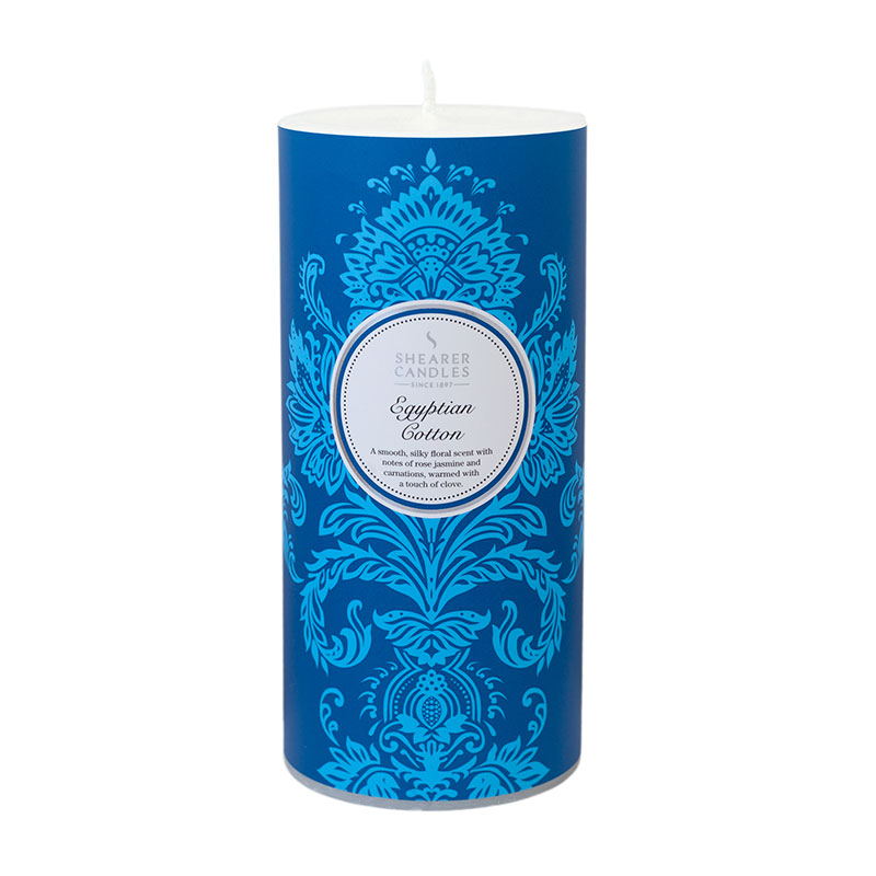 Fragrance Shearer Candles Egyptian Cotton Patterned Pillar Candle