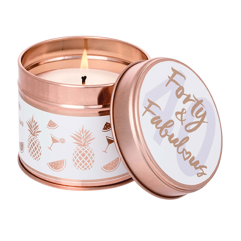 Stoneglow Forty & Fabulous Pineapple & Tangerine Tin Candle