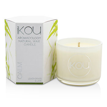 iKOU EcoLuxury Aromacology Natural Wax Candle Glass Calm (Lemongrass & Lime) (2x2) inch